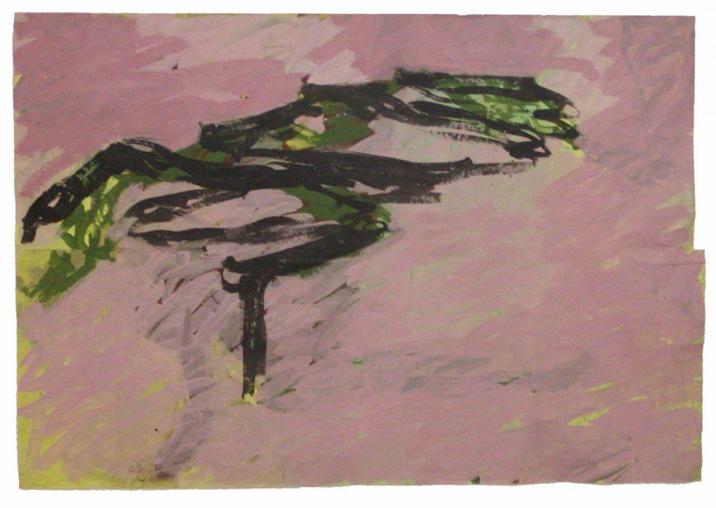 Chemin de pierres à Cretas, 1998, pigments et acrylique sur papier kraft, 200 x 305 cm coll.part ©E.Berry