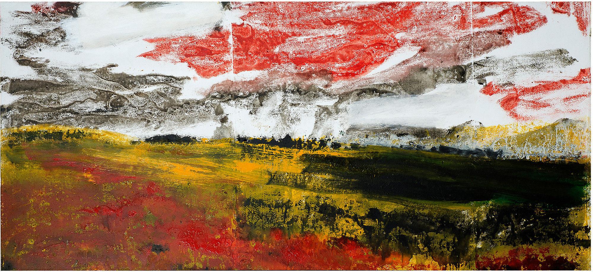 Le ciel et la terre, 2005, monotype sur toile, 64 x 162 cm. (Photo © A.Morain)