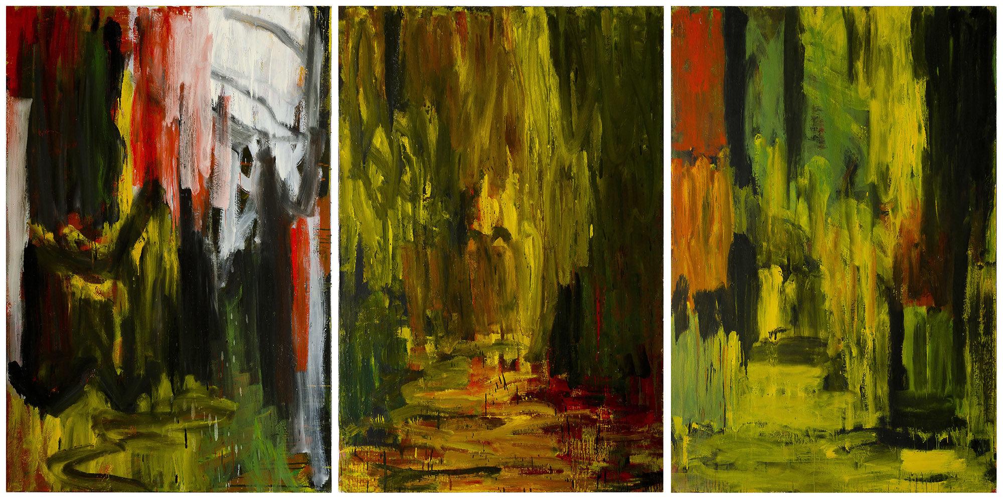 Marrakech, les souks, tryptique, 2005, huile sur toile,195 x390 cm. (Photo © A.Morain)
