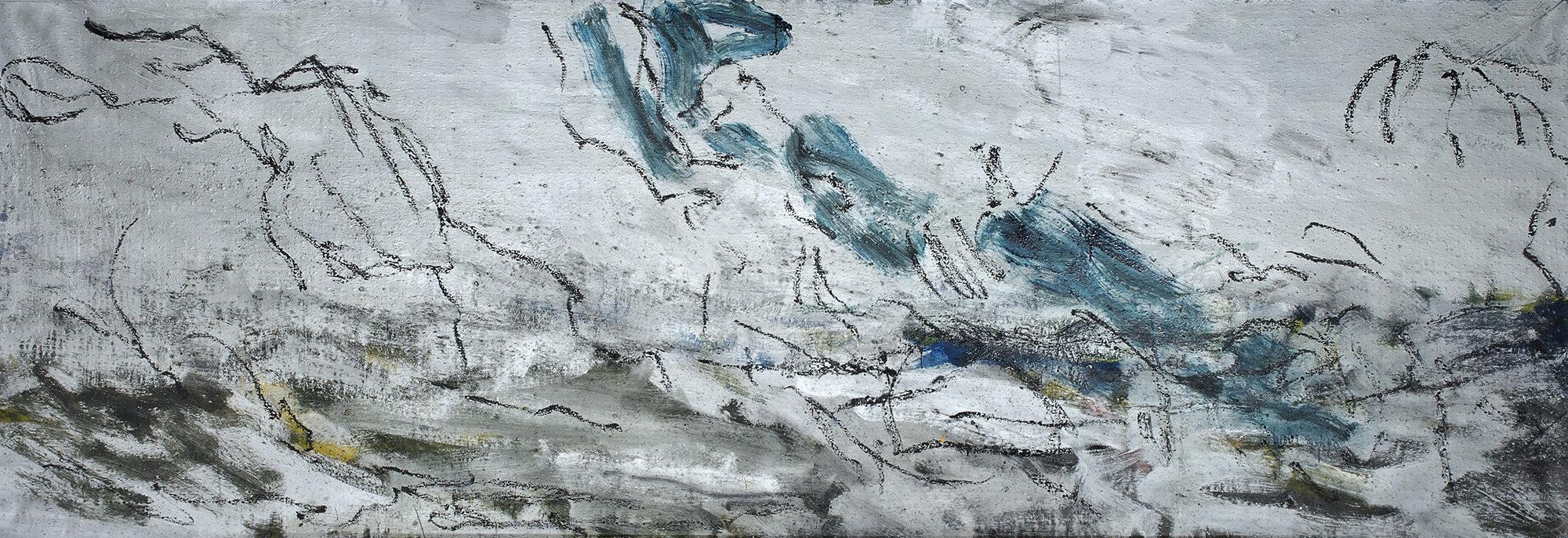 La campagne avec le ciel, 2006, acrylique sur toile, 125 x 371 cm. (Photo © A.Morain)