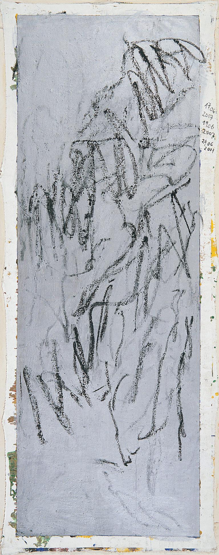 Dans la montagne, 2007, TM sur toile, 233 x 92 cm.