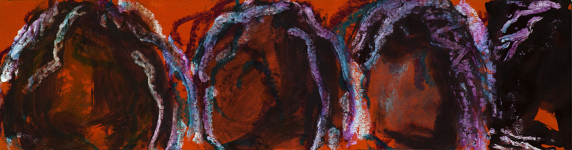Prunes, Calaceite, 2011, TM sur toile, 35 x 134 cm